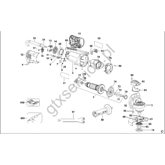 Angle grinder - DEWALT                        D28132C                            Typ 2 - (rysunek techniczny)