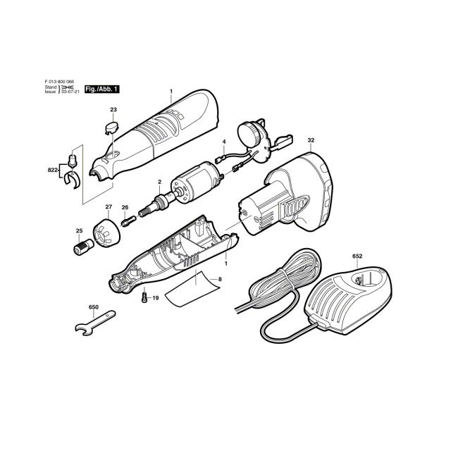 Minigrinder - DREMEL                        800                            F013800067 - (rysunek techniczny)