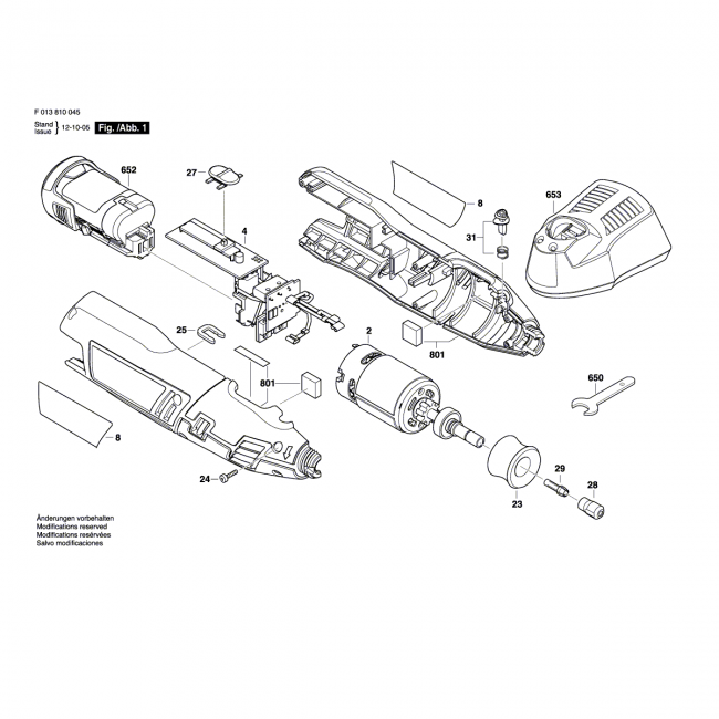 Multi-function tool - DREMEL                        8100                            F013810045 - (rysunek techniczny)